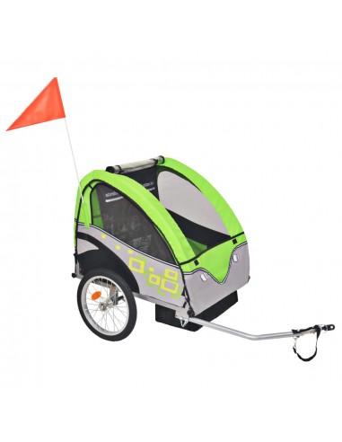 Vaikiška dviračio priekaba, pilka ir žalia, 30 kg | Dviračių Priekabos | duodu.lt