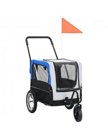 2-1 Priekaba naminiams gyvūnams ir stumdomas vežimėlis, pilka ir mėlyna   Vėžimėliai Naminiams Gyvūnams   duodu.lt