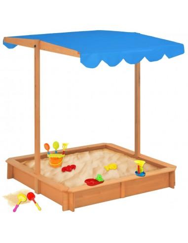 Smėlio dėžė su reguliuojamu stogeliu, mėlyna, eglės mediena   Smėlio Dėžės   duodu.lt