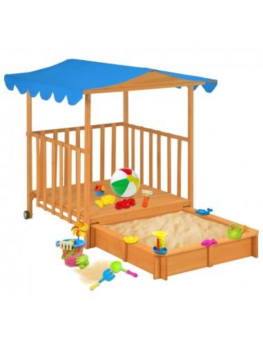 Vaikų žaidimų namelis su smėlio dėže, mėlynas, tuopos mediena | Smėlio Dėžės | duodu.lt