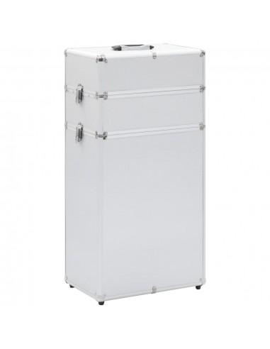 Kosmetikos lagaminas su ratukais, sidabrinės spalvos, aliuminis   Kosmetinės   duodu.lt