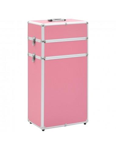 Kosmetikos lagaminas su ratukais, rožinės spalvos, aliuminis | Kosmetinės | duodu.lt