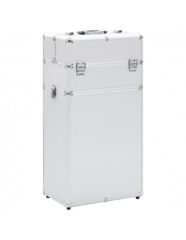 Kosmetikos lagaminas su ratukais, sidabrinės spalvos, aliuminis | Kosmetinės | duodu.lt