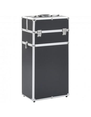 Kosmetikos lagaminas su ratukais, juodos spalvos, aliuminis | Kosmetinės | duodu.lt