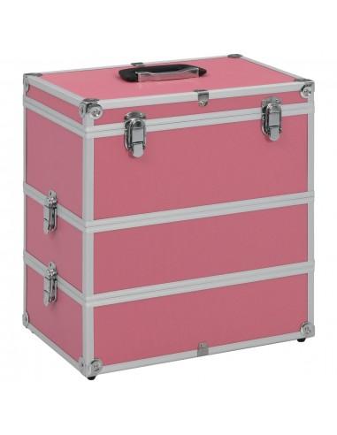 Lagaminas kosmetikos priemonėms, rožinis, 37x24x40cm, aliuminis | Kosmetinės | duodu.lt