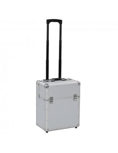 Piloto lagaminas su ratukais, sidabrinis, 39x47x25cm, aliuminis   Kosmetinės   duodu.lt