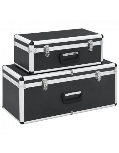 Dėžės daiktams, 2 vnt., juodos spalvos, aliuminis  | Įrankių Dėžės | duodu.lt