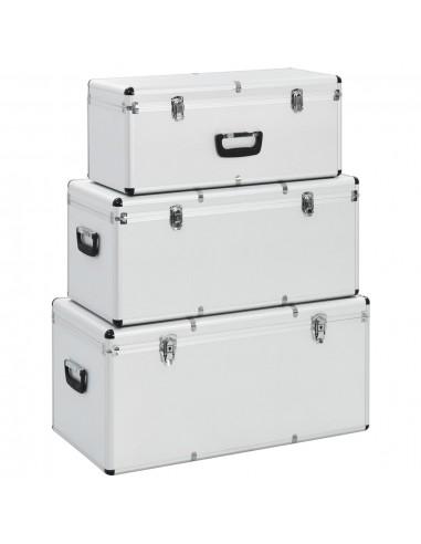Dėžės daiktams, 3 vnt., sidabrinės spalvos, aliuminis   Įrankių Dėžės   duodu.lt