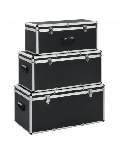 Dėžės daiktams, 3 vnt., juodos spalvos, aliuminis   Įrankių Dėžės   duodu.lt