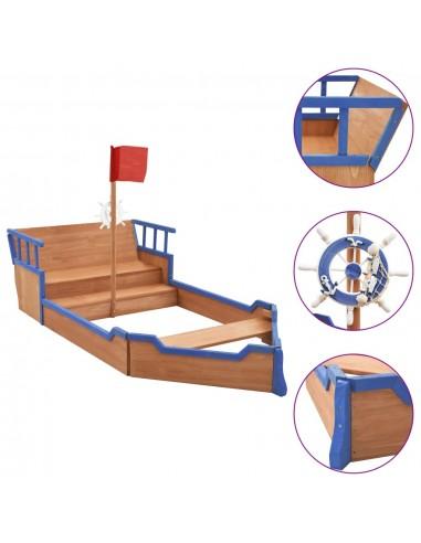 Smėlio dėžė, 190x94,5x136cm, eglės mediena, piratų laivas | Smėlio Dėžės | duodu.lt