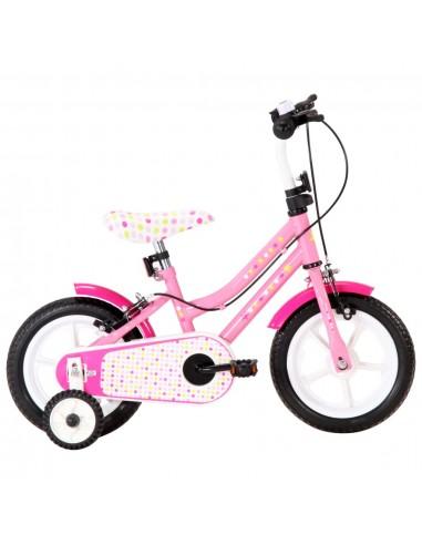 Vaikiškas dviratis, baltos ir rožinės spalvos, 12 colių ratai   Dviračiai   duodu.lt