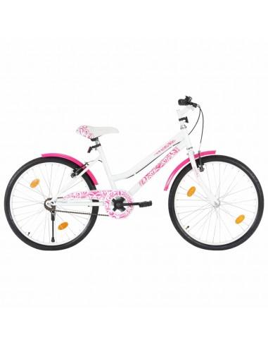 Vaikiškas dviratis, rožinės ir baltos spalvos, 24 colių   Dviračiai   duodu.lt