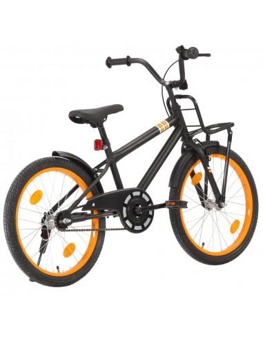 Vaikiškas dviratis su priekine bagažine, juodas ir oranžinis   Dviračiai   duodu.lt