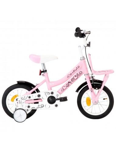 Vaikiškas dviratis su priekine bagažine, baltas ir rožinis   Dviračiai   duodu.lt