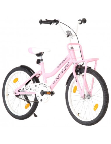 Vaikiškas dviratis su priekine bagažine, rožinis ir juodas   Dviračiai   duodu.lt