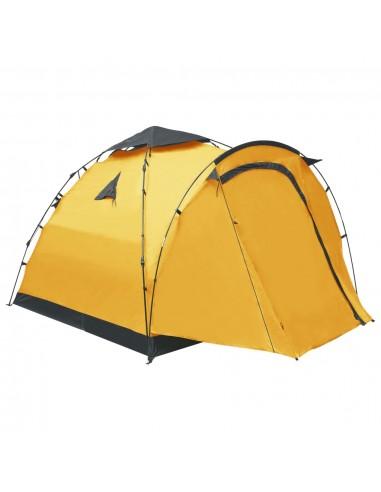 Savaime pasistatanti trivietė stovyklavimo palapinė, geltona   Palapinės   duodu.lt