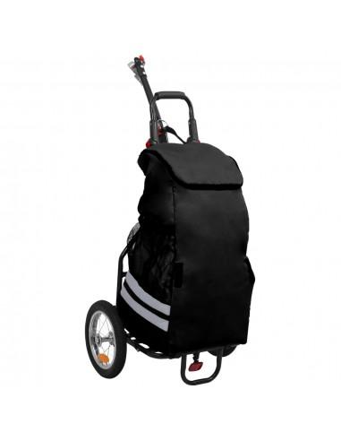 Krovininė dviračio priekaba su pirkinių krepšiu, juodos spalvos | Dviračių Priekabos | duodu.lt