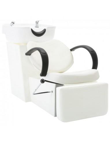 Kirpyklos kėdė su plautuve, baltos spalvos, dirbtinė oda | Salonų Kėdės | duodu.lt