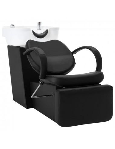 Kirpyklos kėdė su plautuve, juoda ir balta, dirbtinė oda | Salonų Kėdės | duodu.lt