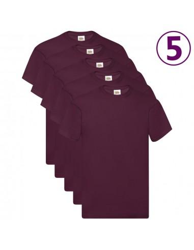 Fruit of the Loom Originalūs marškinėliai, 5vnt., bordo, medvilnė, 3XL | Marškiniai ir Palaidinės | duodu.lt