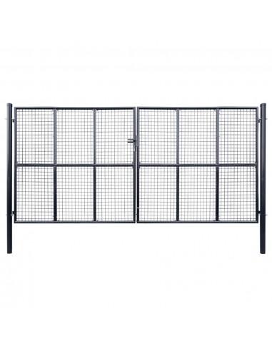 Tinkliniai sodo vartai, cinkuotas plienas, 400x200cm, pilki | Vartai | duodu.lt