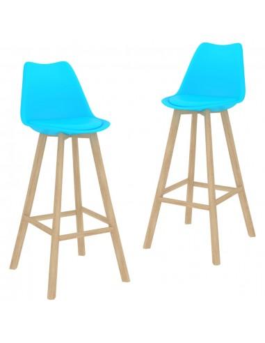 Baro taburetės, 2vnt., mėlynos spalvos, PP ir bukmedžio masyvas | Stalai ir Baro Kėdės | duodu.lt