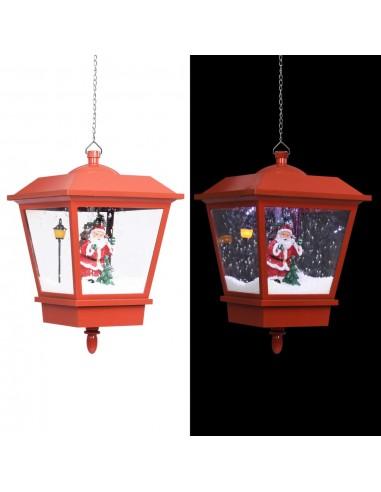 Kalėdinis žibintas su LED/Kalėdų Seneliu, raudonas, 27x27x45cm | Šventiniai papuošimai | duodu.lt