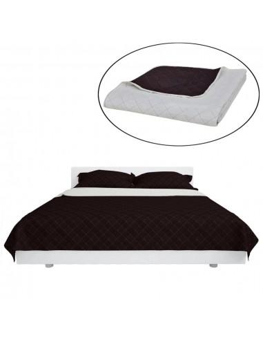 Dvipusis dygsniuotas lovos užtiesalas šviesiai rudas/rudas 170 x 210 cm   Dygsniuotos ir pūkinės antklodės   duodu.lt