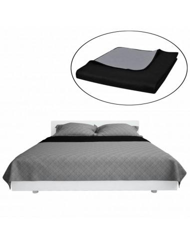 Dvipusis dygsniuotas lovos užtiesalas juodas/pilkas 170 x 210 cm   Dygsniuotos ir pūkinės antklodės   duodu.lt