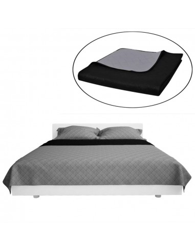 Dvipusis dygsniuotas lovos užtiesalas juodas/pilkas 230 x 260 cm   Dygsniuotos ir pūkinės antklodės   duodu.lt