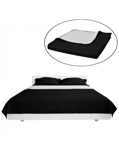 Dvipusis dygsniuotas lovos užtiesalas juodas/baltas 170 x 210 cm | Dygsniuotos ir pūkinės antklodės | duodu.lt