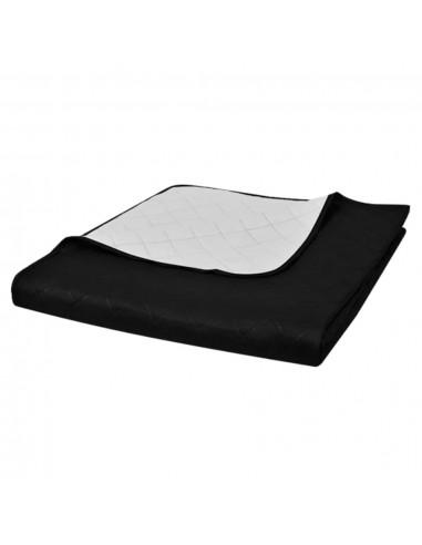 Dvipusis dygsniuotas lovos užtiesalas juodas/baltas 230 x 260 cm | Dygsniuotos ir pūkinės antklodės | duodu.lt