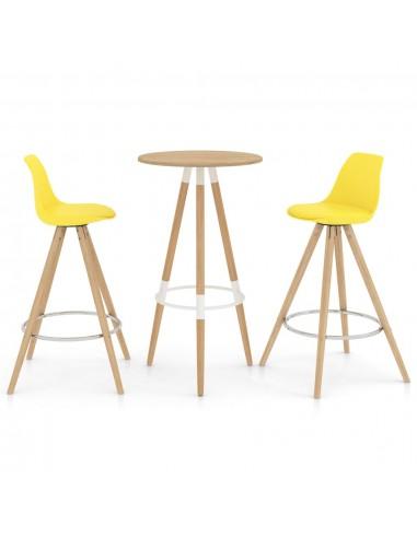 Baro baldų komplektas, 3 dalių, geltonas (287257+287270) | Virtuvės ir Valgomojo Baldų Komplektai | duodu.lt