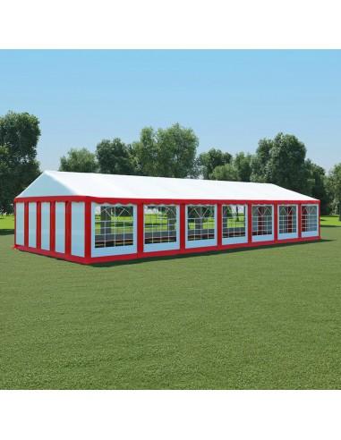 Sodo palapinė, raudona ir balta, 6x14m, PVC (310014+310019)   Tentai ir Pavėsinės   duodu.lt
