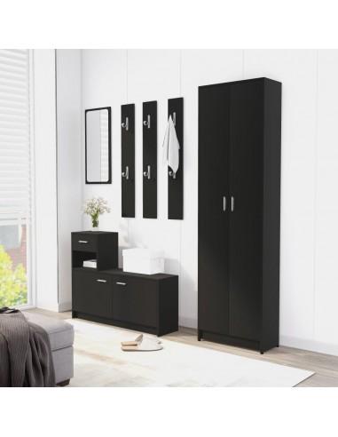 Koridoriaus baldų komplektas, juodas, MDP (802850+802841) | Drabužių spintos | duodu.lt