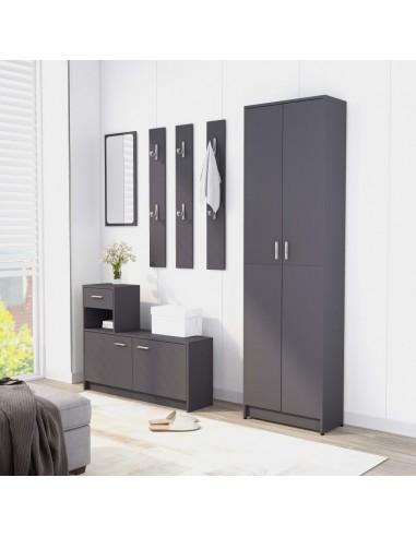 Koridoriaus baldų komplektas, pilkas, MDP (802851+802842) | Drabužių spintos | duodu.lt