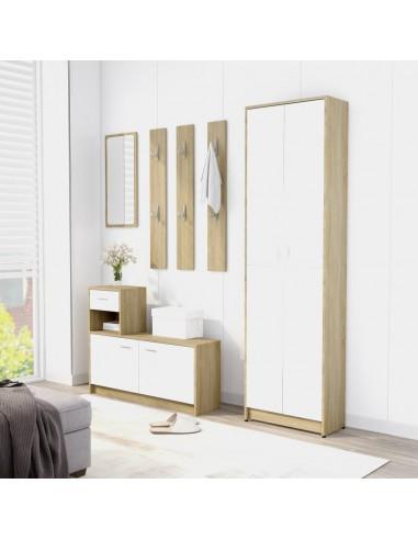 Koridoriaus baldų komplektas, baltos ir ąžuolo spalvos, MDP | Drabužių spintos | duodu.lt