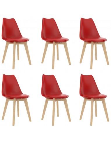 Valgomojo kėdės, 6vnt., raudonos, plastikas (289136+289137) | Virtuvės ir Valgomojo Kėdės | duodu.lt