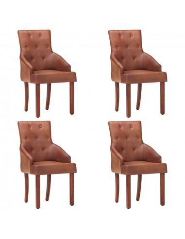 Valgomojo kėdės, 4vnt., rudos, tikra ožkos oda (2x288289) | Virtuvės ir Valgomojo Kėdės | duodu.lt
