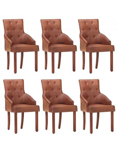 Valgomojo kėdės, 6vnt., rudos, tikra ožkos oda (3x288289) | Virtuvės ir Valgomojo Kėdės | duodu.lt