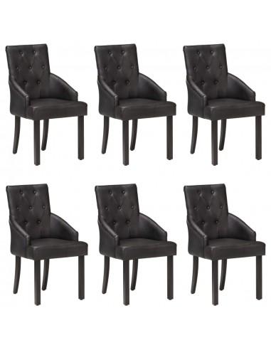 Valgomojo kėdės, 6vnt., juodos, tikra ožkos oda (3x288290) | Virtuvės ir Valgomojo Kėdės | duodu.lt