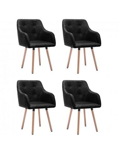 Valgomojo kėdės, 4vnt., juodos spalvos, audinys (2x322987) | Virtuvės ir Valgomojo Kėdės | duodu.lt