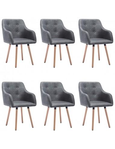 Valgomojo kėdės, 6vnt., tamsiai pilkos, audinys (3x322982)   Virtuvės ir Valgomojo Kėdės   duodu.lt