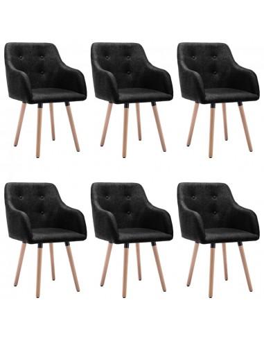 Valgomojo kėdės, 6vnt., juodos spalvos, audinys (3x322987) | Virtuvės ir Valgomojo Kėdės | duodu.lt