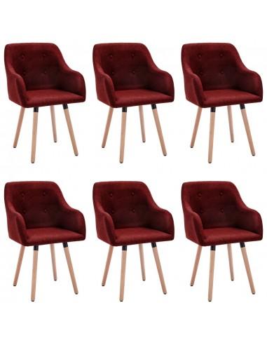 Valgomojo kėdės, 6vnt., vyno raudonos, audinys (3x322989) | Virtuvės ir Valgomojo Kėdės | duodu.lt