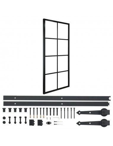 Stumdomos durys su įranga, 76x205cm, aliuminis ir ESG stiklas | Durys | duodu.lt