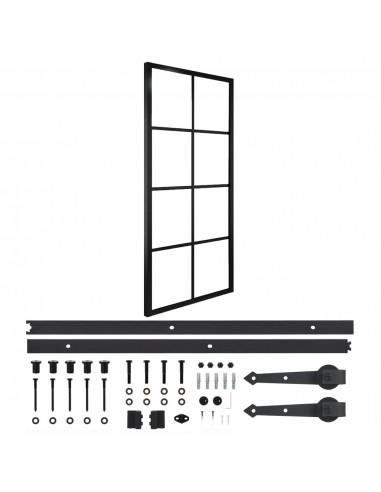Stumdomos durys su įranga, 76x205cm, aliuminis ir ESG stiklas   Durys   duodu.lt