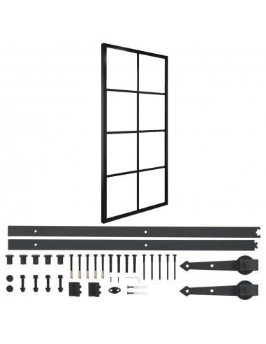 Stumdomos durys su įranga, 90x205cm, aliuminis ir ESG stiklas   Durys   duodu.lt