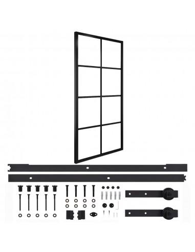 Stumdomos durys su įranga, 90x205cm, aliuminis ir ESG stiklas | Durys | duodu.lt