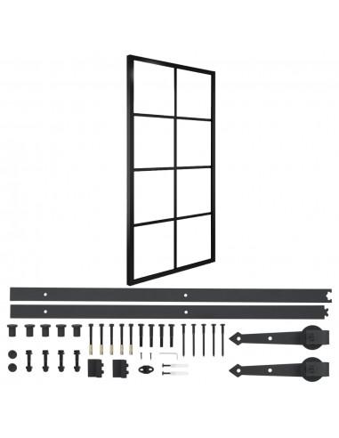 Stumdomos durys su įranga, 102,5x205cm, aliuminis ir stiklas | Durys | duodu.lt